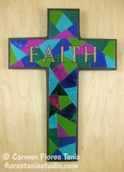 Foiled Faux Stained Glass Cross Kool Tak